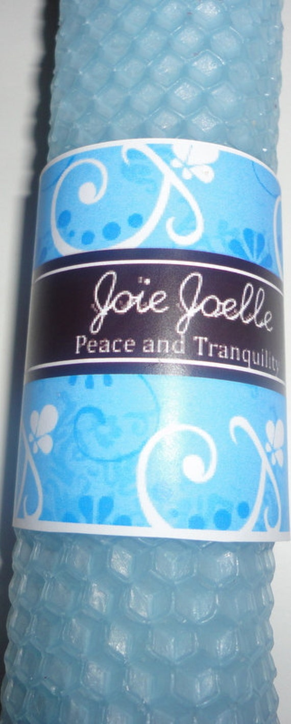 Peace & Tranquility Blue White Spell Candle  with  Herbs and  Energy Stones for calmness, healing, relaxation, comfort, balance