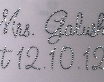 Personalized Mrs. Bride (with wedding date) Rhinestone Iron On Transfer