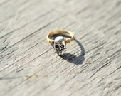Gold Ring with Silver Skull