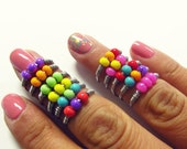 Silver Trio Bead Ring - Custom Color Options