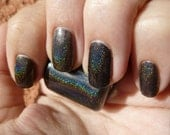 Midnights Rainbow Black Holographic Nail Polish - mini bottle