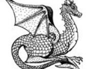 Sitting Dragon Large UM Rubber Stamp