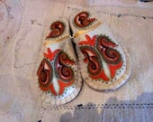 100% handmade ethnic sheep wool felted slippers