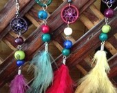 Feather Dreamcatcher Earring Solitary Ethnic Peru Peruvian Style