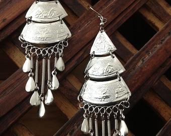 Alpaca Silver Earrings Dangle Ethnic Peru Peruvian Style