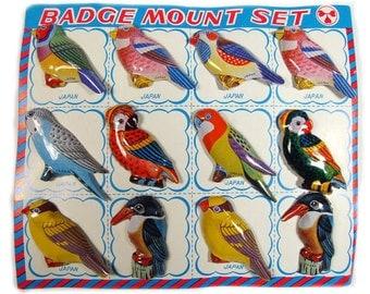 Vintage tin Bird badge 12set from Japan