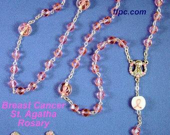 """Breast Cancer - Saint Agatha 21"""" Crystal Bead Rosary"""