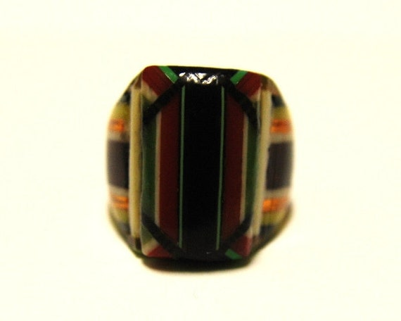 Vintage Celluloid Bakelite Folk Art Prison Ring (Size 7-1/4)
