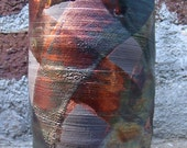 Wheel Thrown Ceramic Raku Cup / Vase Glazed with Crackle, Alligator, and Copper Luster