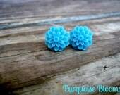 Turquoise Flower Bloom Stud Earrings