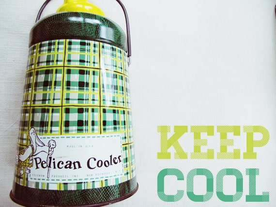 keep cool - vintage pelican cooler - plaid, tartan, green, retro picnic