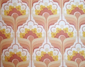 FREE SHIPPING - Super Cute Pink Vintage Wallpaper - Yellow Flower Retro Pattern 1970s Europe - Sample Size