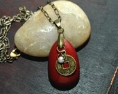 Red Chinese Good Luck charm pendant