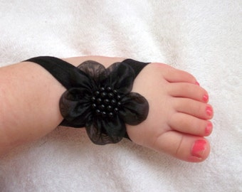 Black Flower Baby Barefoot Sandals - Baby Sandals - Barefoot Sandals