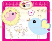 Cute Clipart Lovely Birds baby colors clipart flower Whimsical tendril Designer layout digital images personal & commercial use pf00013-1