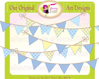 Happy Birthday Boys Bunting Clipart Kid colors elements Hearts pattern layout digital clipart set images personal & commercial use pf00010-1