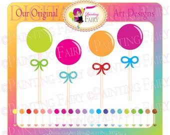Cliparts Buy 2 get 1 Free- MegaPack: Lollipops / Ribbons Rainbow colors Colorful digital clipart layout Personal & Commercial Use pf00016-4