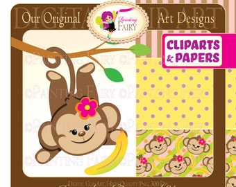 Clipart Cute Girl Monkeys with Bananas Zoo Safari clip art Sweet digital papers images Designer set for personal & commercial use pf00015-2