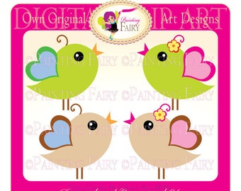 SALE OFF 25% Cliparts Lovely Birds clip art Fall in love flower designer layout digital images personal & commercial use pf00013-5