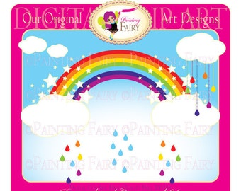 Cliparts Buy 2 get 1 Free Colorful rainbow clip art raindrops designer elements layout digital images personal & commercial use  pf00001-1