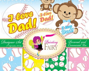 Designer Set: Father's day elements Cute Girl Boy Monkeys Clipart Baseball background digital paper pack Personal & Commercial use pf00026-2