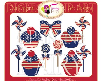 Digital Clipart 4th of July Cupcake Lollipop Bow Pinwheel Clip Art Red White Blue Scrapbook Personal & Commercial Use pf00021-7