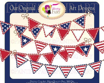 Digital Clipart Happy Forth of July Bunting clip art National designer elements images Personal & Commercial Use pf00022-3