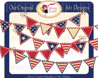 Digital Clipart Happy 4th of July Bunting clip art National designer element digital images Personal & Commercial Use pf00021-5