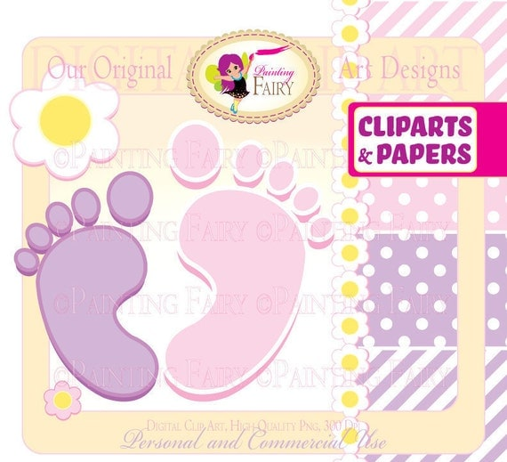 Clipart Buy 2 get 1 Free Cute girl Baby's footprints flowers clip art designer layout digital images personal & commercial use pf00017-2