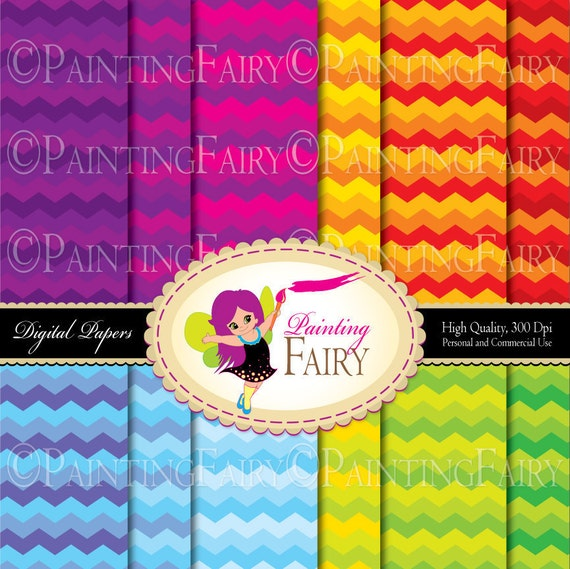 Cinco De Mayo Rainbow chevron digital paper Colorful background Vibrant color printable DIY Paper pack Personal Commercial Use pf00028-1