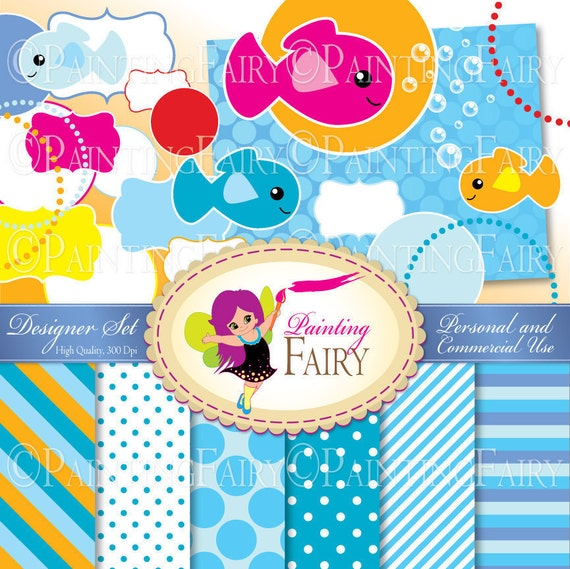 8b57888a35e designer set 19 cliparts 7 papers under the sea backgrounds pack swimming  fishies di.