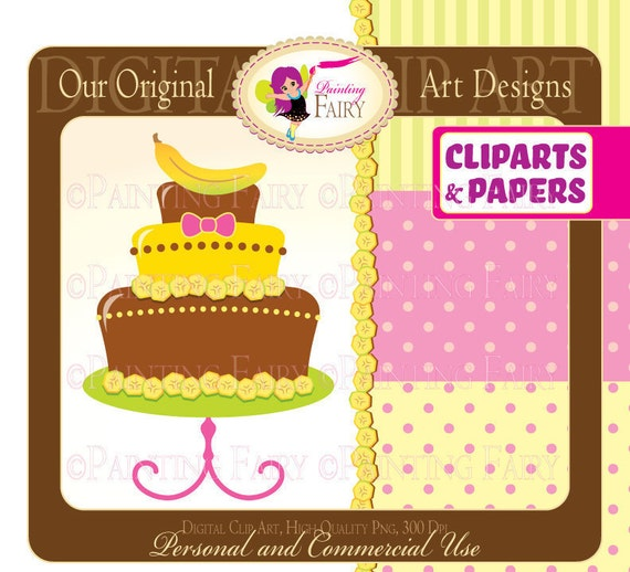 Clipart Buy 2 get 1 Free Happy Birthday bananas Cakes clip art papers designer elements digital images personal & commercial use pf00015-3