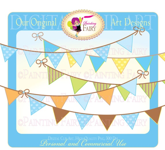 Clipart Buy 2 get 1 Free - Colorful Bunting clip art boy colors designer elements layout digital images personal & commercial use pf00009-1