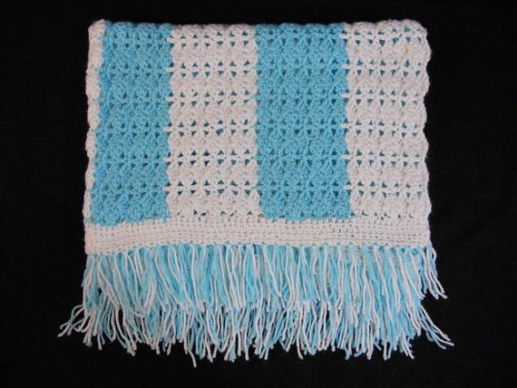 Beautiful Soft Hand Made Hand Crochet Baby Childs Boys Blanket Blue and White, Lap, Throw