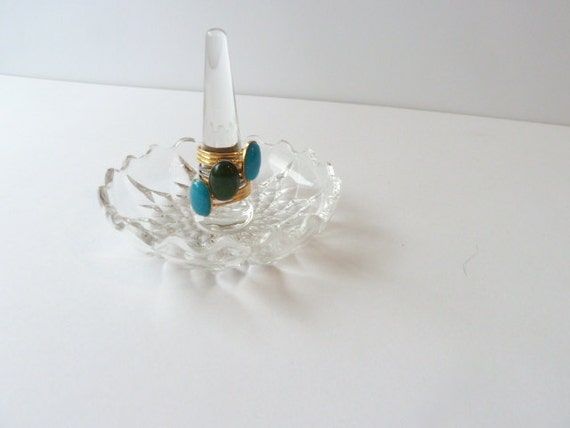 Vintage Crystal ring holder, Leaded crystal, Crystal, Jewelry storage, Ring holder