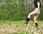 Vintage Brown Leather Military Boots