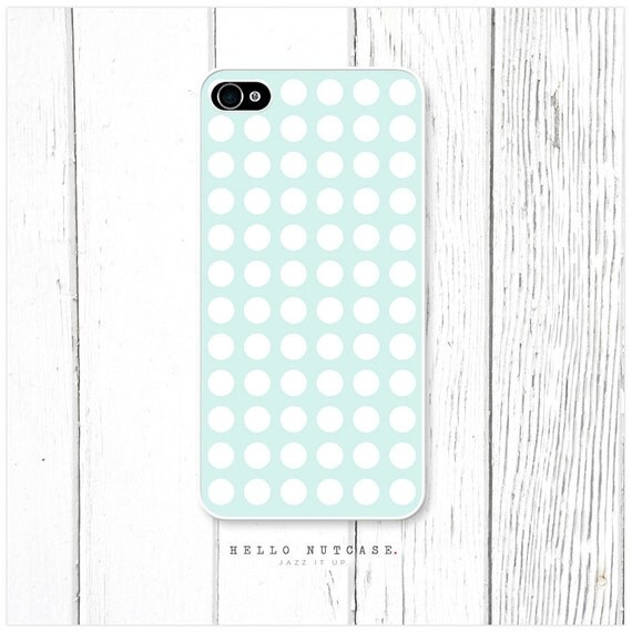 iPhone 4 and 4S case Polka Dots on Light Teal