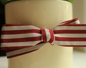 Vintage Falino Red & Silver-Striped Bow Tie for July 4th