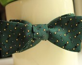 Vintage Handmade 'Champagne-bubble' Green Bow Tie