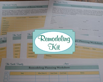 The Complete Home Remodeling Organizer Kit - 7 Documents IMMEDIATE DIGITAL DOWNLOAD
