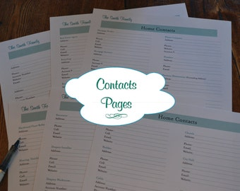 The Complete Home Contacts Kit - 7 Documents DIGITAL DOWNLOAD