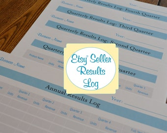 Etsy Seller Organizer Printables: Business Results Logs - 5 Printable PDFs IMMEDIATE DOWNLOAD