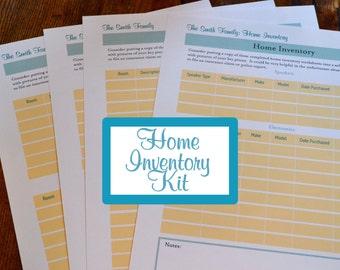 Home Inventory Organizer Kit - 4 Documents IMMEDIATE DIGITAL DOWNLOAD