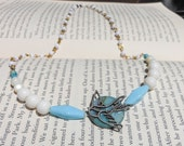 House Arryn-vintage blue and white bird necklace (Inspired by A Song of Ice and Fire/Game of Thrones) As High As Honor