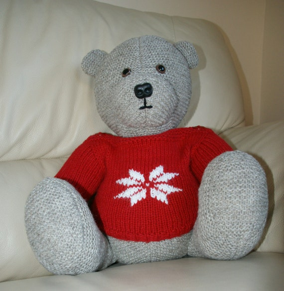 Knitting Pattern For Teddy Bear Jumper : Items similar to Hand knitted teddy bear with snowflake ...