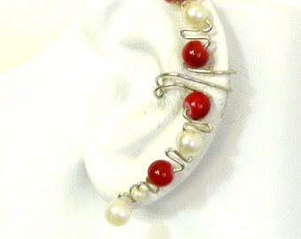 Ear cuff wrap - red and white glass  pearls  with nontarnish wire
