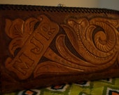 Vintage Hand Tooled Leather Clutch Purse Wallet 1970's Retro Floral MJR