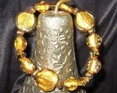Golden Foil Glass Beaded Bracelet