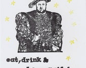 King Henry handstamped birthday greeting card