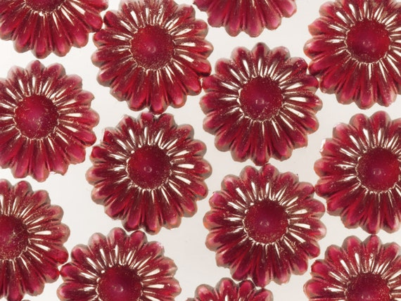 144 Red Fluted Cabochons, 9mm Vintage Molded Glass, Mixed Media Flower Embellishment, Destash Quantity Lot DIY Jewelry Craft Glass,